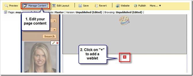 Add a weblet to myRealPage website