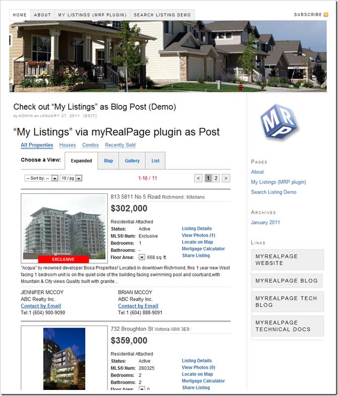 myRealPage WordPress plugin demo wesite