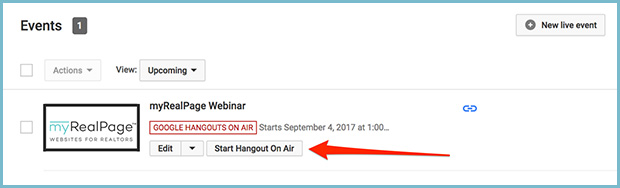 Youtube channel create new event start webinar hangout