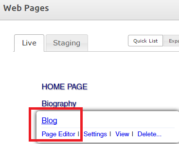 Open the page editor for your MRP blog