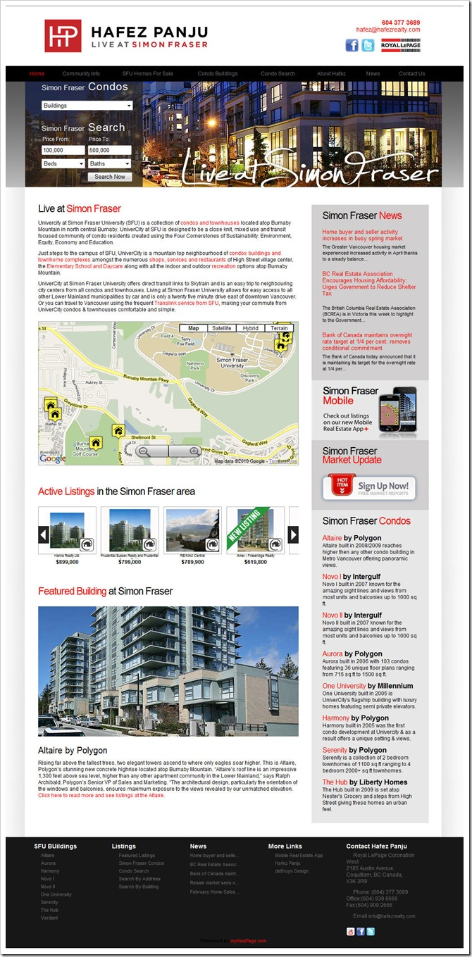 Condo Buyer Website: front page