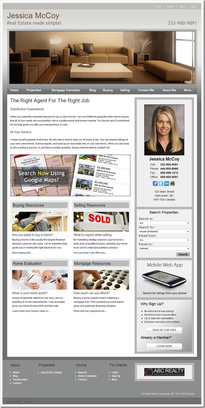 Theme 703 : myRealPage theme for REALTOR websites