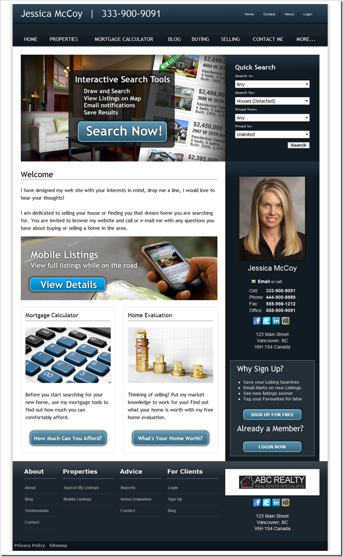 Theme 707 : myRealPage theme for REALTOR websites