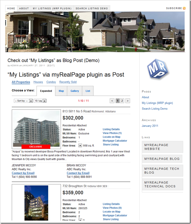 myRealPage WordPress plugin demo wesite