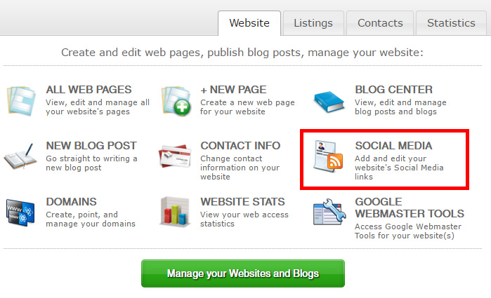 Social Media link under Websites tab in Private Office