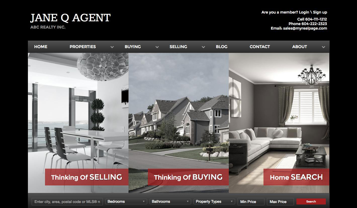 Real Estate Website Templates For Realtors MyRealPage - Real estate photography website template