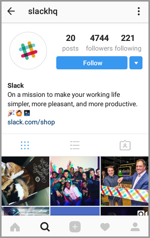Slack's short and sweet bio on Instagram