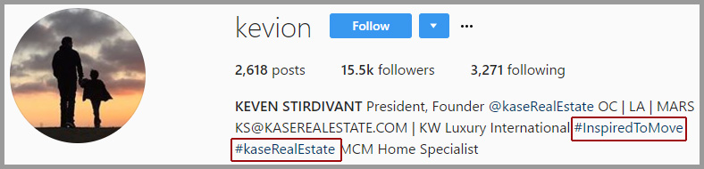 Example of hashtags in a realtor's Instagram bio section