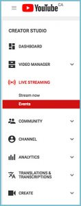 Youtube channel dashboard events