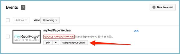 Youtube channel create new event start webinar hangout