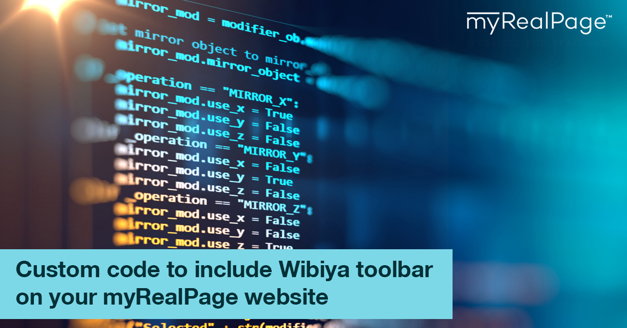 Custom code to include Wibiya toolbar on your myRealPage website