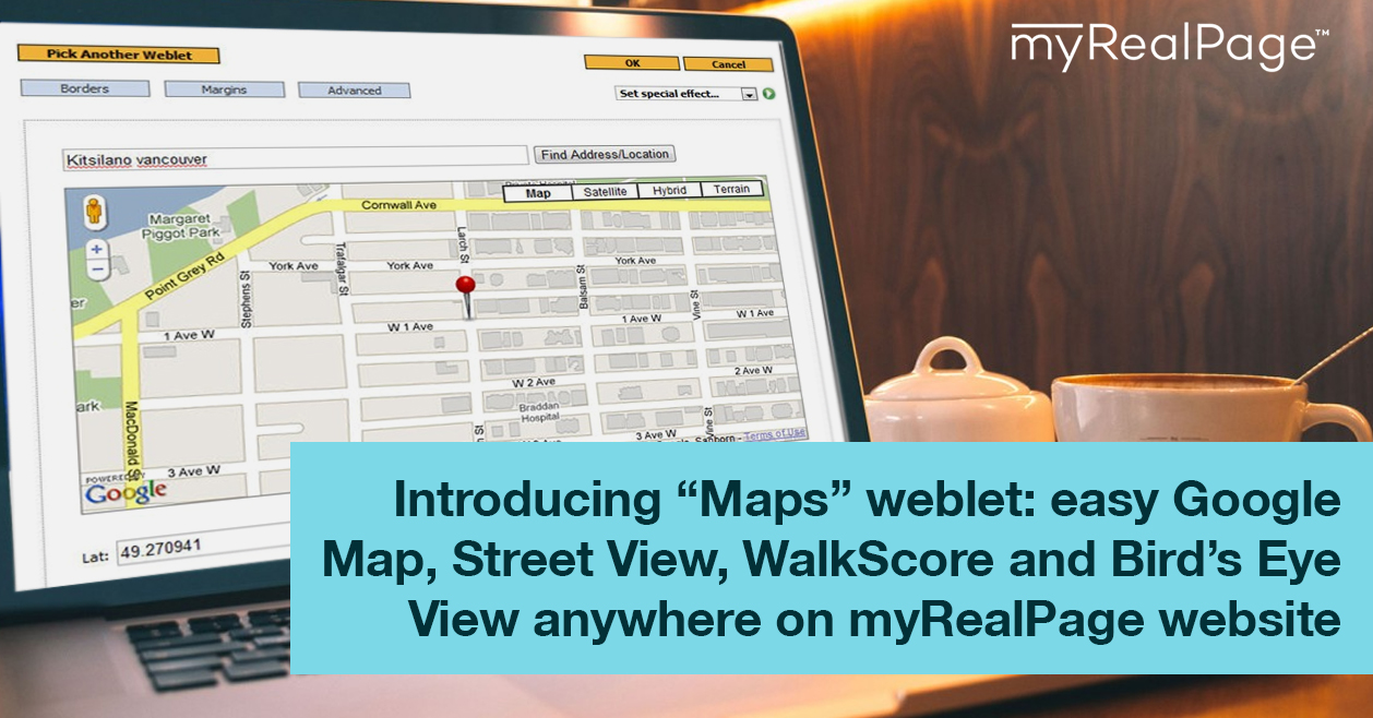 "Introducing ""Maps"" Weblet: Easy Google Map, Street View, WalkScore And Bird's Eye View Anywhere On MyRealPage Website"