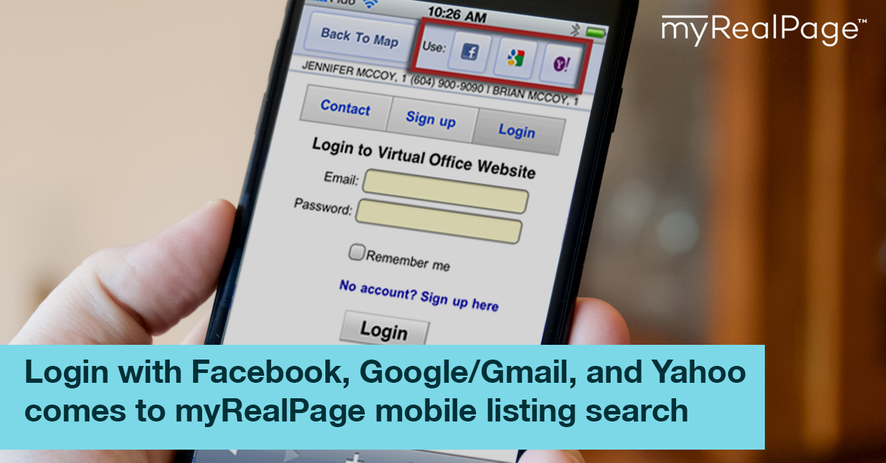Login With Facebook, Google/Gmail, And Yahoo Comes To MyRealPage Mobile Listing Search
