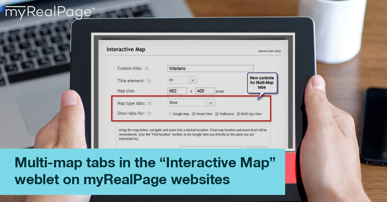 "Multi-map tabs in the ""Interactive Map"" weblet on myRealPage websites"