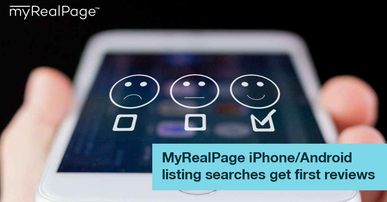 MyRealPage iPhone/Android listing searches get first reviews