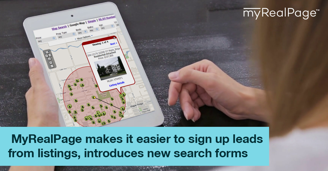 MyRealPage Makes It Easier To Sign Up Leads From Listings, Introduces New Search Forms