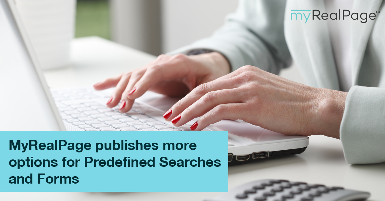 MyRealPage publishes more options for Predefined Searches and Forms