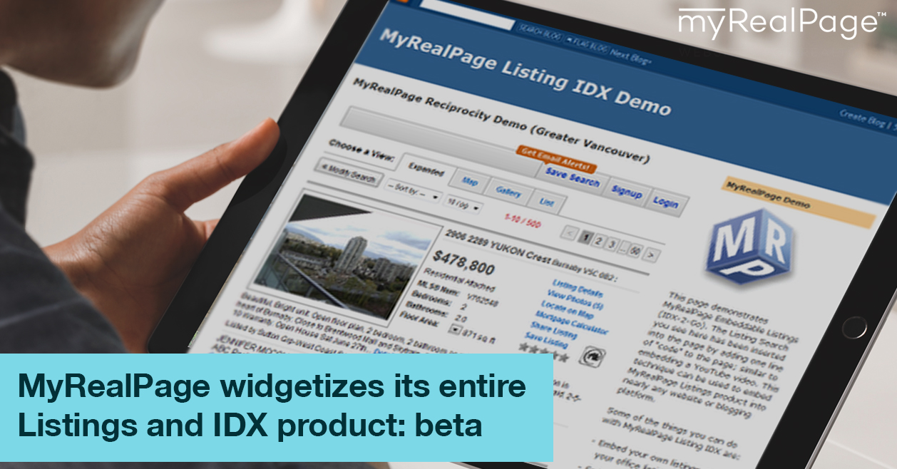 MyRealPage widgetizes its entire Listings and IDX product: beta