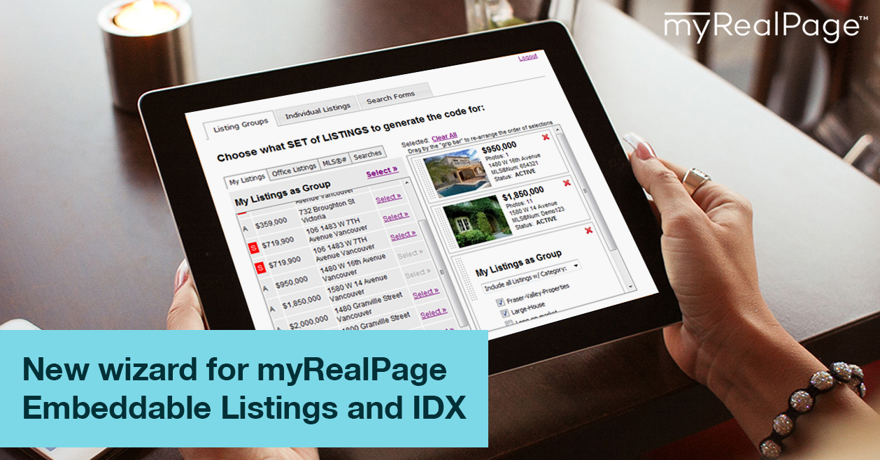 New Wizard For MyRealPage Embeddable Listings And IDX