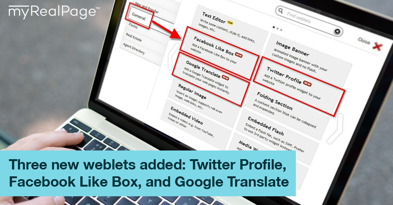 Three New Weblets Added: Twitter Profile, Facebook Like Box, And Google Translate