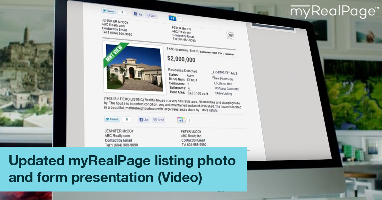 Updated myRealPage listing photo and form presentation (Video)