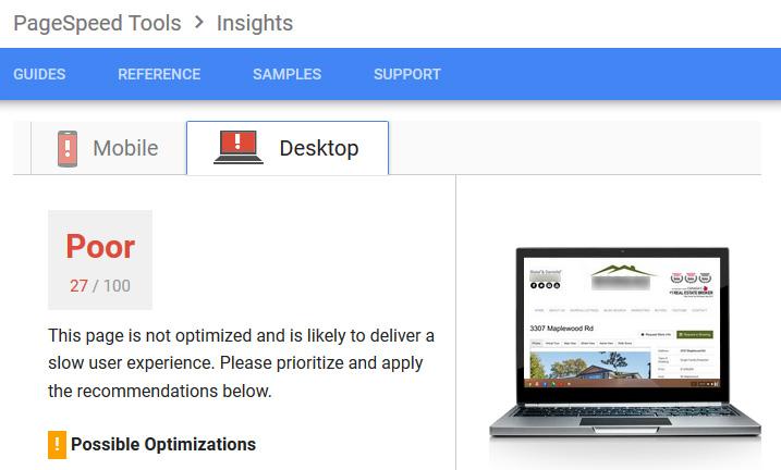 Sample RealtyNinja website. Site speed results.